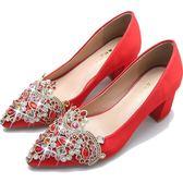婚鞋女新款高跟粗跟結婚鞋子紅色中式秀禾龍鳳鞋水鑚敬酒韓版    初語生活