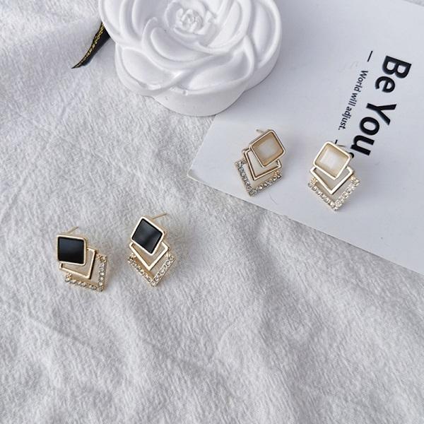 【NiNi Me】耳環 現貨 時尚方形貓眼石水鑽925銀針耳環 耳環 N0540