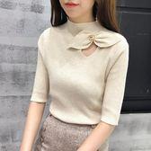 2018春夏新款圓領修身半袖蝴蝶結針織衫女修身短袖上衣打底衫潮 卡米優品