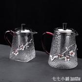 玻璃濾壺~耐熱錘紋玻璃茶壺過濾加厚家用大號煮茶器泡茶單壺透明可加熱防爆