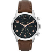 FOSSIL Townsmen 都會雙眼計時腕錶FS4873黑面玫瑰金
