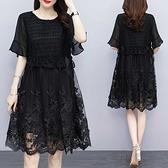 蕾絲小洋裝 大碼高端女裝肥mm蕾絲連身裙洋氣夏裝2021新款適合胖人裙子220斤