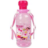 〔小禮堂〕Hello Kitty 日製吸管水壺《透明粉紅.糖果屋》400ml  4970825-07623