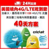 40天美加網卡 | 美國AT&T子公司Cricket 4G/LTE不降速吃到飽、含加拿大、墨西哥11GB高速流量/美國網卡
