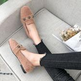豆豆鞋女春秋季新款韓版百搭時尚單鞋淺口套腳懶人毛毛鞋瓢鞋