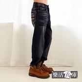 【7345】搖滾刺繡刷色伸縮休閒中直筒牛仔褲(深藍)● 樂活衣庫