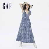 Gap女裝 莫代爾棉麻紮染吊帶裙 684802-藍色紮染