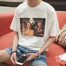 原宿風t恤男短袖上衣嘻哈半袖寬松男士打底衫