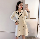 VK精品服飾 韓系雙排釦收腰顯瘦針織西裝V領長袖洋裝