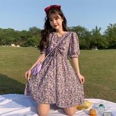 洋裝紫色碎花洋裝女裝夏季新款氣質抽繩收腰顯瘦泡泡袖甜美裙子 暖心生活館