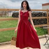 無袖洋裝 港味chic吊帶裙無袖夏季新款洋裝性感氣質中長款打底黑裙女 魔法鞋櫃