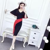 洋裝春新款女夏季韓版拼色V領蝙蝠袖修身顯瘦包臀開叉裙潮