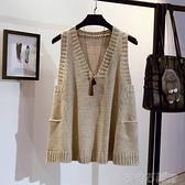 針織馬甲 寬鬆毛衣女A字版馬甲女套頭大碼春秋季韓版V領背心無袖針織衫外套 茱莉亞