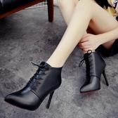 2020秋冬新款加絨短靴歐美系帶女式細跟高跟鞋子女士尖頭馬丁靴潮【快速出貨】