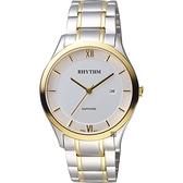 RHYTHM日本麗聲 簡約羅馬日期手錶-白x雙色/39mm P1211S03
