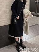 針織洋裝赫本風小黑裙女秋冬法式溫柔風毛衣裙過膝內搭針織連身裙長款 嬡孕哺 免運