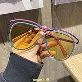 韓版潮個性超大框網紅防風連體墨鏡女大臉圓臉顯瘦太陽鏡男潮眼鏡 [快速出貨]