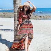雪紡連身裙女2018夏新款顯瘦沙灘裙子海邊度假波西米亞民族風長裙 易貨居
