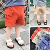 小童工裝褲短褲夏裝薄款褲子純棉中褲男童休閒外穿五分褲 海角七號