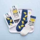 4雙裝ins超火春夏日系情侶款卡通動漫辛普森棉襪中筒襪男女潮襪子滿天星