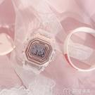 手錶女方塊手錶女生獨角獸櫻花粉復古方形電子錶風高中生學生學院風 麥吉良品