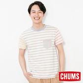 CHUMS 日本 男 有機棉x植物染 口袋拼色線條 短袖圓領T恤 多彩 CH011220C004