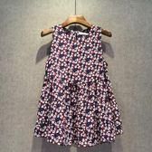 夏季新款無袖碎花雪紡衫女寬鬆小清新娃娃衫韓版遮肚子上衣     芊惠衣屋