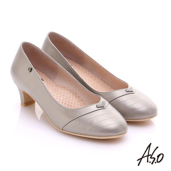 A.S.O 舒活寬楦 全真皮桃子口奈米粗跟鞋 灰