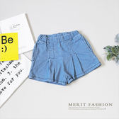 簡約車線打摺仿牛仔短褲 女童 夏天 口袋 短褲 舒適 百搭 簡約  韓版 童裝 哎北比童裝