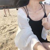夏裝2018新款女裝正韓小心機雪紡襯衣開衫外搭短款防曬衣薄款襯衣【新店開張八八折下殺】