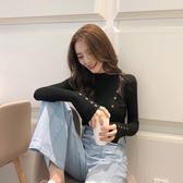2019秋冬新款韓版黑色毛衣長袖打底衫半高領上衣緊身針織衫女洋氣