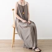 洋裝-長款寬版不規則裙襬純色細肩帶女連身裙73sm10【巴黎精品】