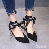 仙女風2019新款韓版一字扣帶中跟絲帶綁帶女涼鞋夏季細跟高跟女鞋 aj12330『黑色妹妹』