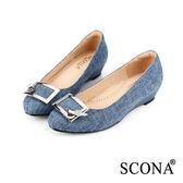 SCONA 優雅百搭方扣楔型鞋 深藍色 22535-2