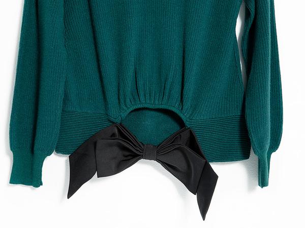 秋冬7折[H2O]顯瘦羅紋織紋後面蝴蝶結裝飾毛衣 - 紅/綠/白色 #9630026