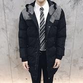 夾克外套-連帽冬季保暖韓版時尚中長版夾棉男外套73qa50[時尚巴黎]