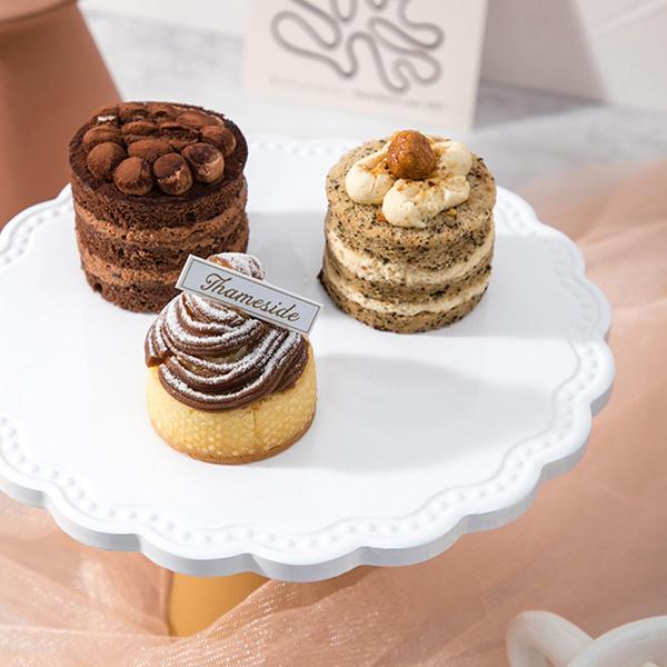 【BlueCat】仿真大理石紋陶瓷甜品高腳托台 (直徑20cm) 托盤 蛋糕盤 拍照道具 美食擺拍 拍攝道具