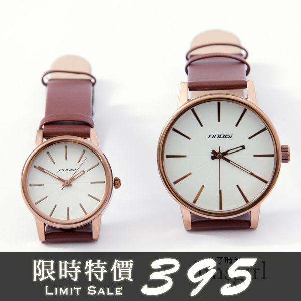 文青簡約刻度情侶仿皮對錶手錶4色~funsgirl芳子時尚