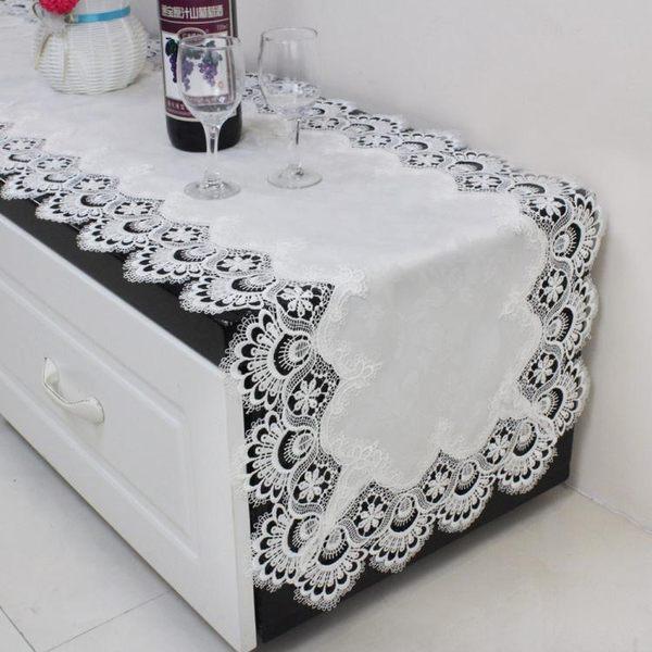 電視櫃桌布歐式白色茶幾桌布蕾絲長方形桌旗現代簡約電視蓋布蓋巾