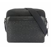 【COACH】皮革浮雕LOGO方形拉鏈斜背包(黑色) F28455 QBBK