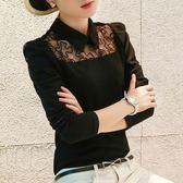 韓版大碼女裝泡泡袖長袖打底襯衫修身蕾絲上衣 黛尼時尚精品