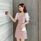 2021夏季新款法式氣質格子短袖女裙子收腰顯瘦雪紡拼接A字連身裙 夏季新品