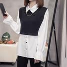 XL-4XL大碼長袖T恤~2428實拍秋裝大碼女裝胖mm200斤時尚洋氣設計感小衆長袖拼接襯衫.5F026依品國際
