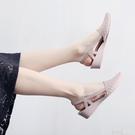 夏季時尚尖頭淺口鏤空防水果凍鞋韓版坡跟包...