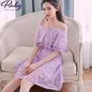 洋裝 一字領刺繡荷葉無袖洋裝-Ruby s 露比午茶