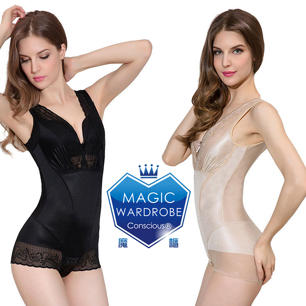 【MAGIC WARDROBE 魔櫃】420丹單一件蠶絲+鍺元素+負離子能量石(爆款蕾絲無痕.塑身衣瘦身衣褲)