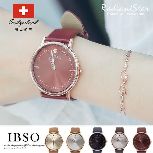 瑞士IBSO曼陀蘿癡迷濃色大錶面超薄真皮手錶對錶單支【WIB16156】璀璨之星☆