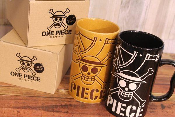尼德斯Nydus~* 日本正版 限量 海賊王 One Piece 魯夫 海賊旗 馬克杯 啤酒杯 550ml 陶瓷 日本製