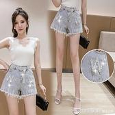 短褲 破洞毛邊鑲鑚牛仔短褲女2021新款夏季韓版顯瘦外穿熱褲高腰闊腿褲 618購物節