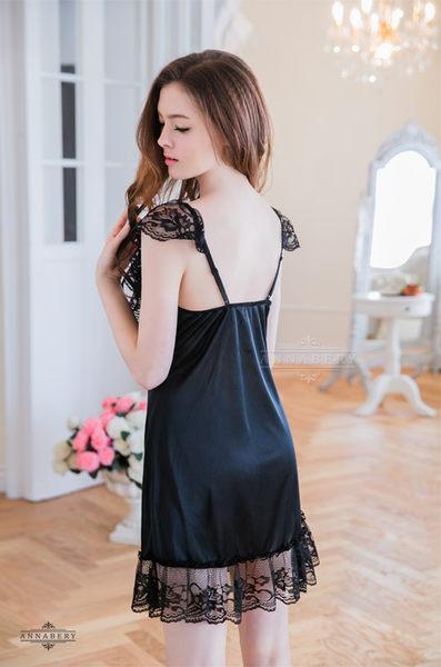 大尺碼 Annabery蕾絲小蓋袖黑色柔緞睡衣 (OS小舖)